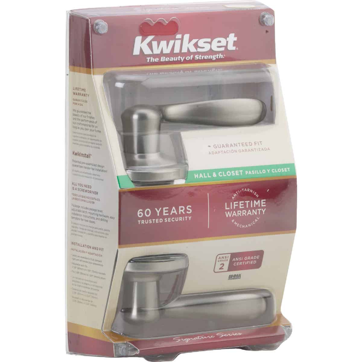 Kwikset Signature Series Satin Nickel Tustin Passage Door Lever Image 2