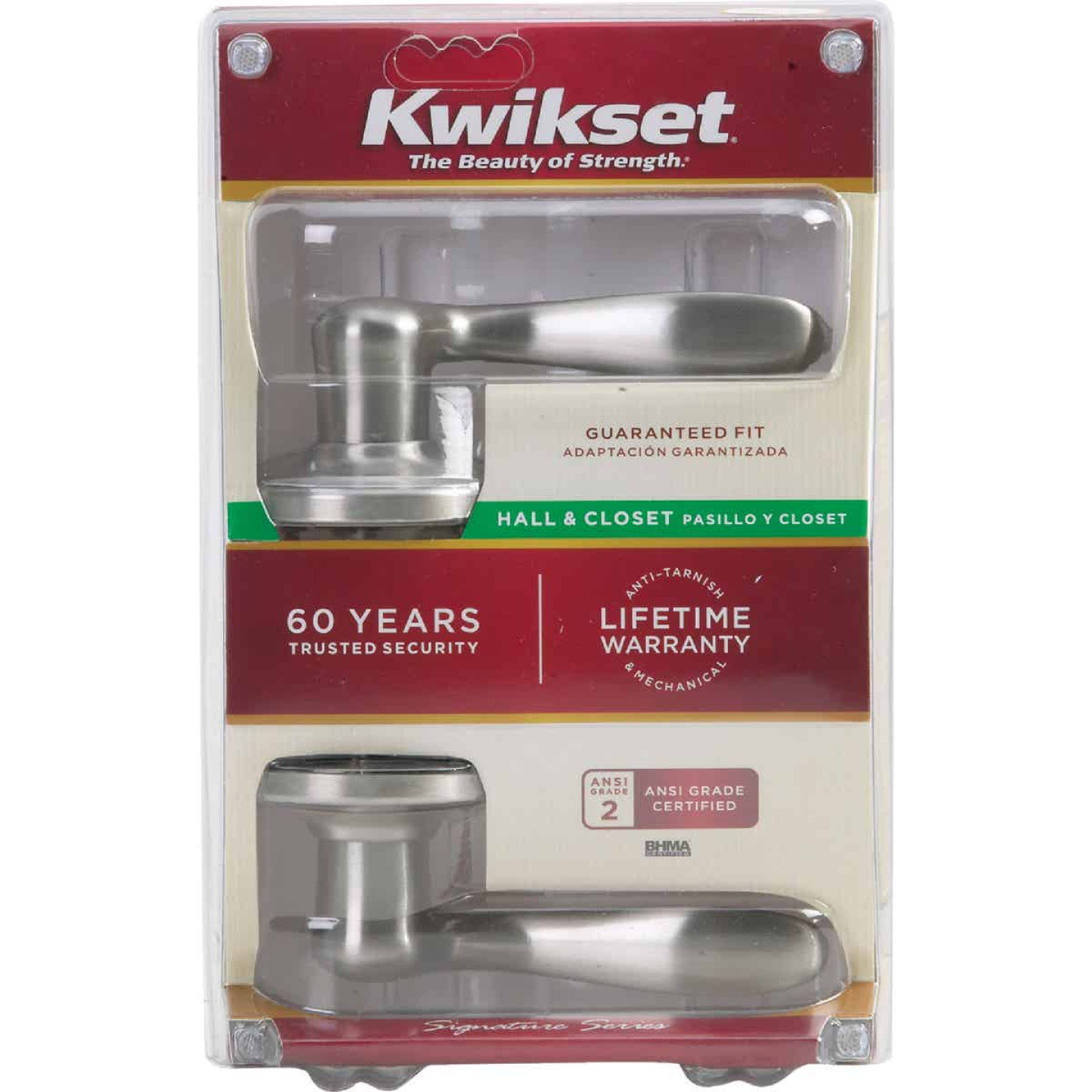 Kwikset Signature Series Satin Nickel Tustin Passage Door Lever Image 4