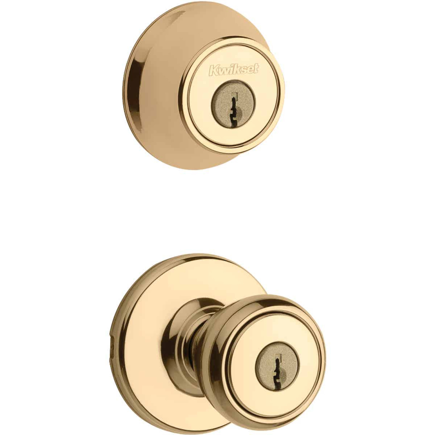 Kwikset Bright Brass Deadbolt and Door Knob Combo Image 1