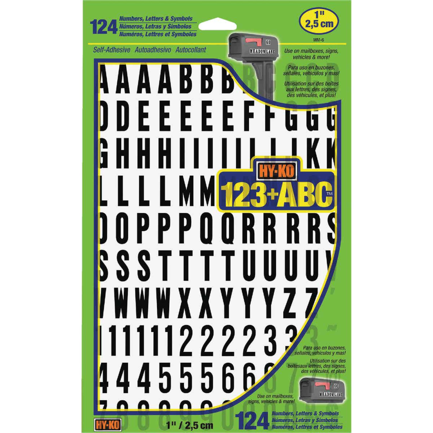 Hy-Ko 1 In. Numbers, Letters & Symbols (124 Count) Image 1