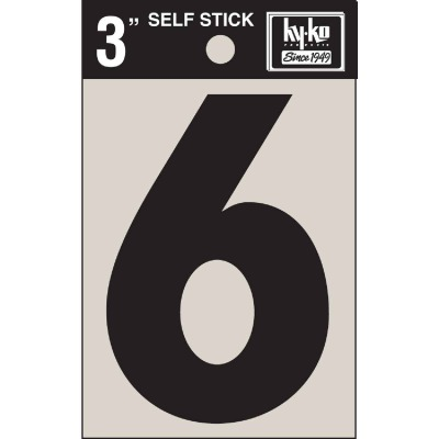 Hy-Ko Vinyl 3 In. Non-Reflective Adhesive Number Six
