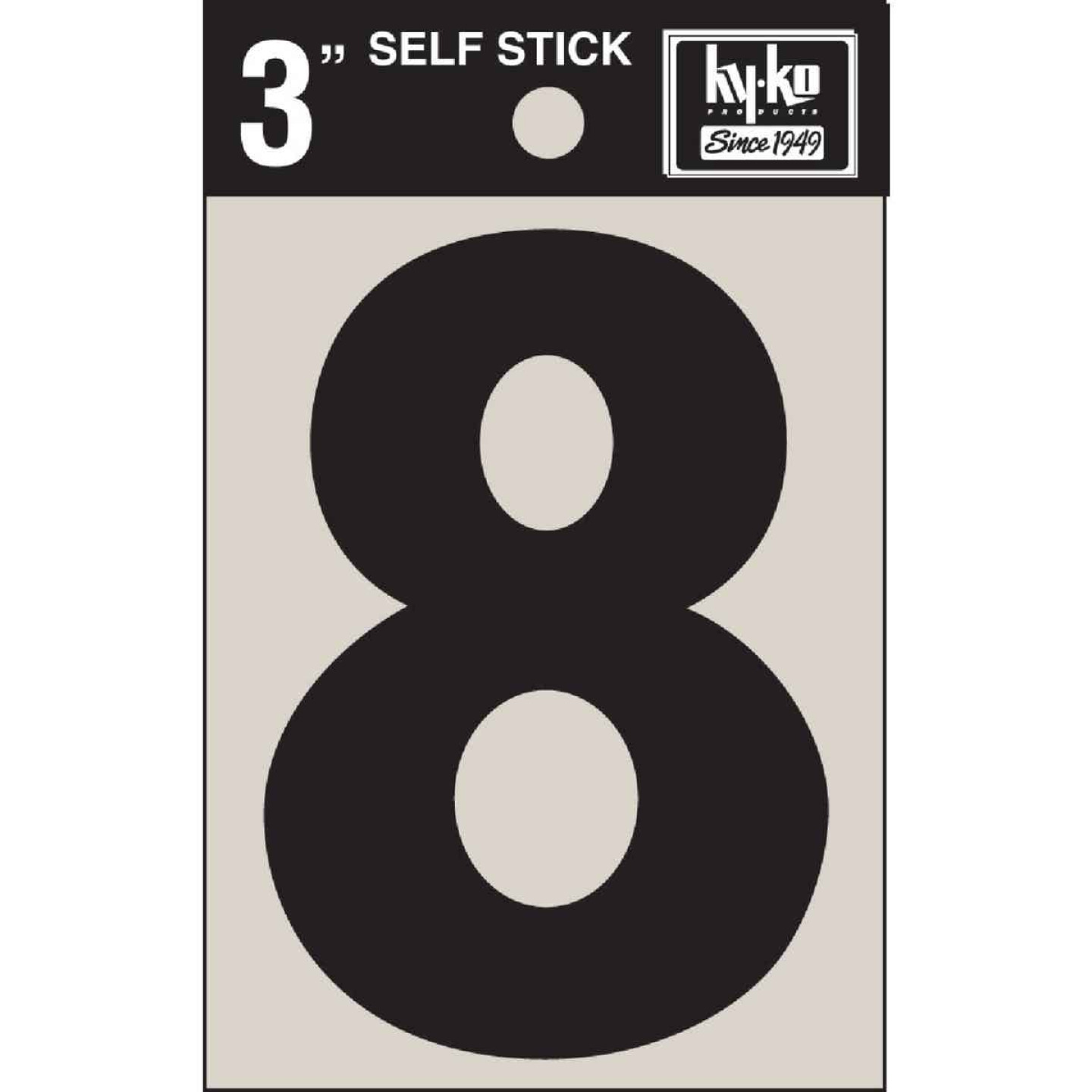 Hy-Ko Vinyl 3 In. Non-Reflective Adhesive Number Eight Image 1