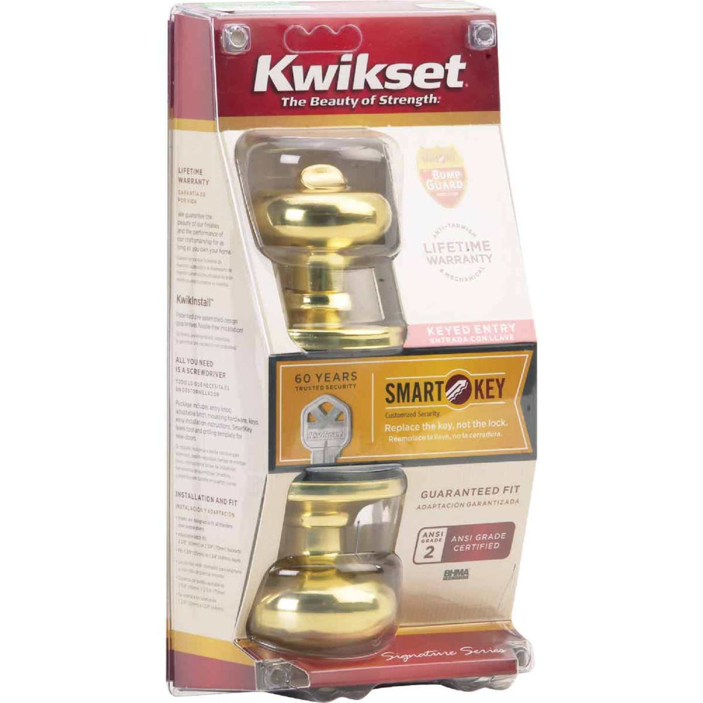 Kwikset Signature Series Polished Brass Juno Entry Door Knob with SmartKey Image 3