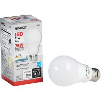 Satco 75W Equivalent Natural Light A19 Medium Dimmable LED Light Bulb