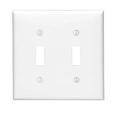 Leviton 2-Gang Thermoplastic Nylon Toggle Switch Wall Plate, White