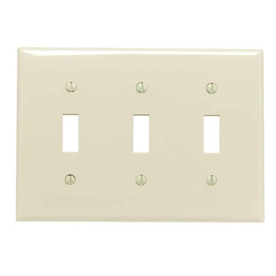 Leviton 3-Gang Thermoplastic Nylon Toggle Switch Wall Plate, Ivory