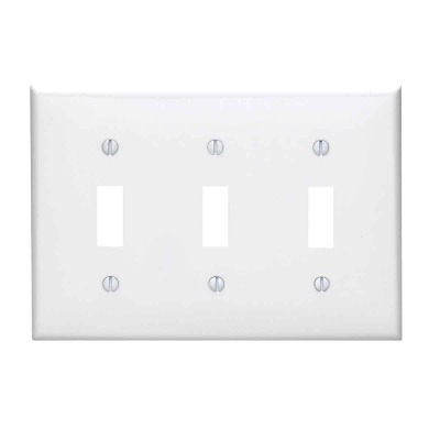 Leviton 3-Gang Thermoplastic Nylon Toggle Switch Wall Plate, White