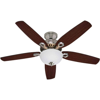 Hunter Builder Deluxe 52 In. Brushed Nickel Ceiling Fan with Light Kit