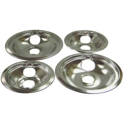 "Range Kleen Electric (2) 6"" & (2) 8"" Style B Round Chrome Drip Pan"