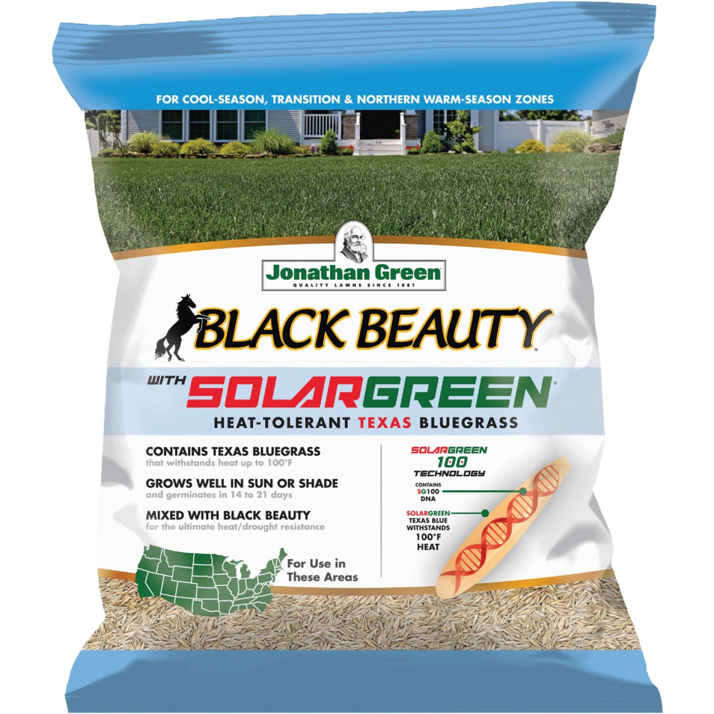 Jonathan Green Black Beauty 3 Lb. Texas Bluegrass Seed with Solargreen Image 1